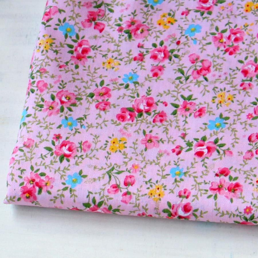 Pink flowers print 100 cotton fabrics meter patchwork for Cotton sewing material
