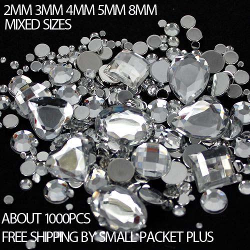 Mixed Sizes 1000pcs Many Colors Round Acrylic Loose Flatback Rhinestone Nail Art Crystal Stones For Wedding Clothing Decorations(Hong Kong)