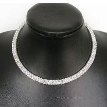 Newest Fashion Womens Double Row Crystal Rhinestone Necklace I-eat(China (Mainland))