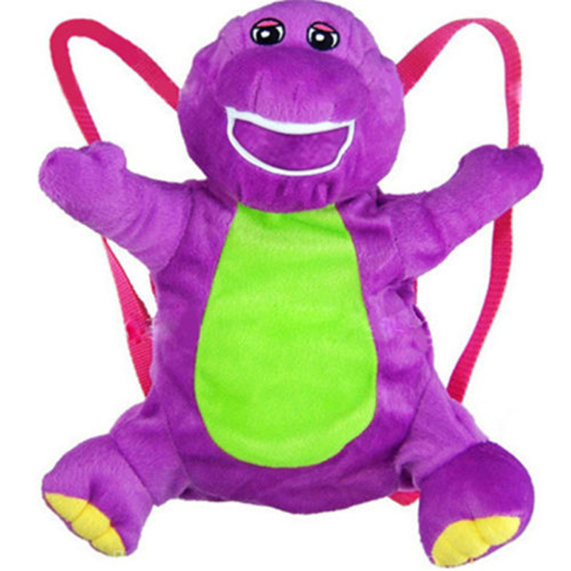 Brand NEW Cute Kids bag Soft 20in Barney Plush Doll Backpack The Dinosaur Heart Purple Backpacks #LC(China (Mainland))