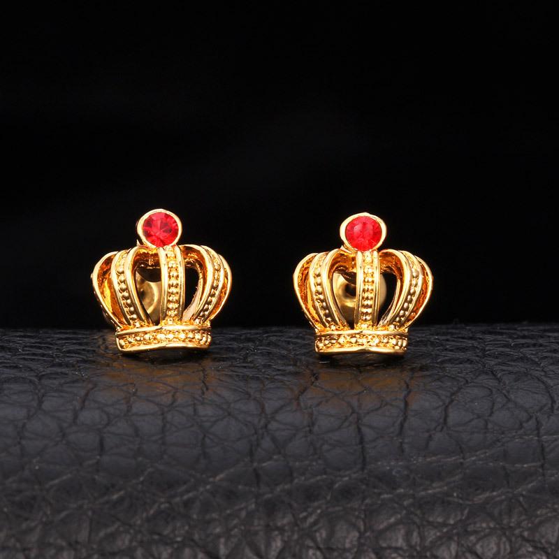 Vintage Stud Earrings Colorful Crown Fashion Cute Austrian Rhinestone Earring Free Shipping Jewelry Women Accessories Brand E622(China (Mainland))