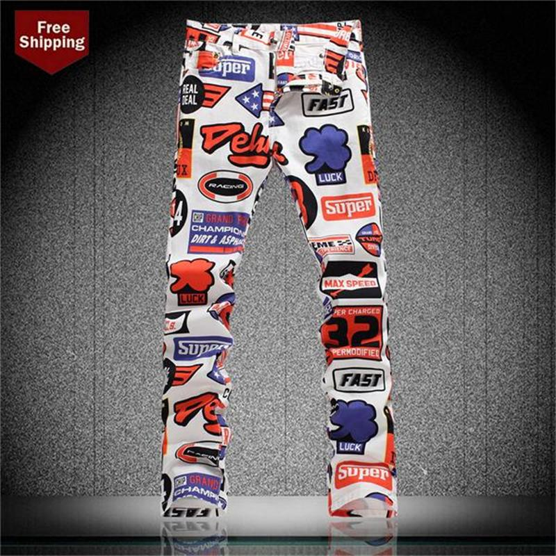 The new spring and summer Metrosexual printing jeans slim elastic Korean fashion casual pants pants men painted flowers for starОдежда и ак�е��уары<br><br><br>Aliexpress
