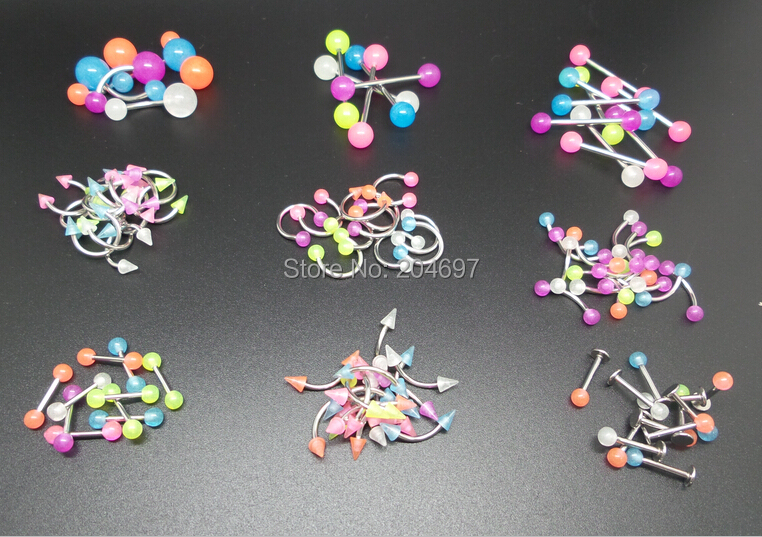 9 Styles Mix 180pcs Glow In the dark Steel Shaft Acrylic Eyebrow Nose Lip Labret Ring Tongue Barbell Belly Piercing Body Jewelry