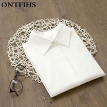 Buy White Blouse Women Work Wear Button Turn Collar Long Sleeve Cotton Top Shirt Blusas Feminina OL for $15.99 in AliExpress store