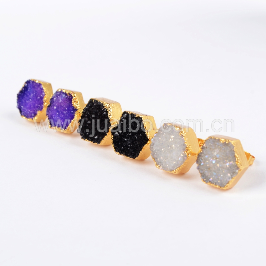 New 12mm Gold Plated Hexagon Mix Color Agate Druzy Geode Stud Earrings Wholesale Price G0616<br><br>Aliexpress