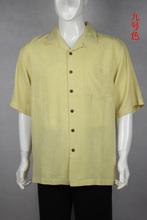 100% silk short sleeve casual yellow men shirt big size us size L(China (Mainland))