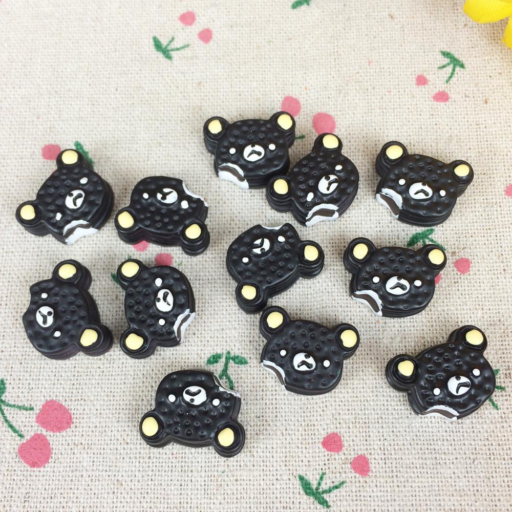 10Pieces Flat Back Resin Cabochon Artificial Black Bear Cake Kawaii DIY Flatback Embellishment Accessories Scrapbooking:16*20mm(China (Mainland))