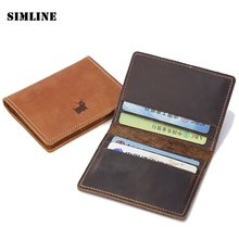 Buy Brand Vintage Handmade 100% Genuine Crazy Horse Leather Cowhide Mens Short Slim Wallet Wallets Purse Card Holder Case Men for $11.73 in AliExpress store