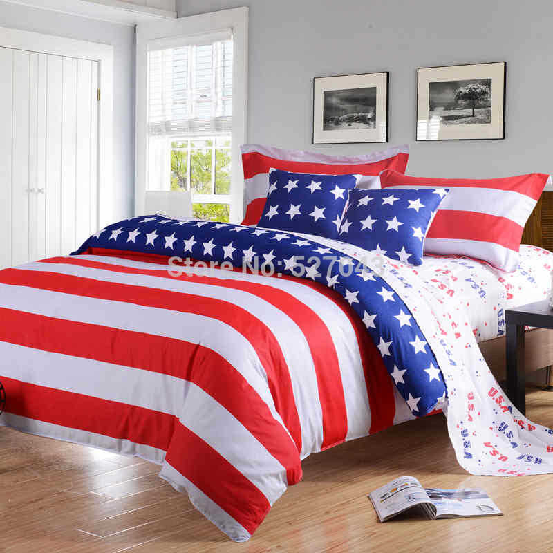 2014 New American Pie Flag Printing 4pcs Twin/Full/Queen/King size Bedding set 100% Cotton Bed Duvet cover set linen bedclothes(China (Mainland))