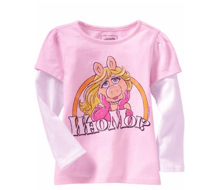 2016 tiskok New100%cotton Spring kids baby girls clothes t shirts children's blouse Long sleeve  Cartoon Casual dress Cute