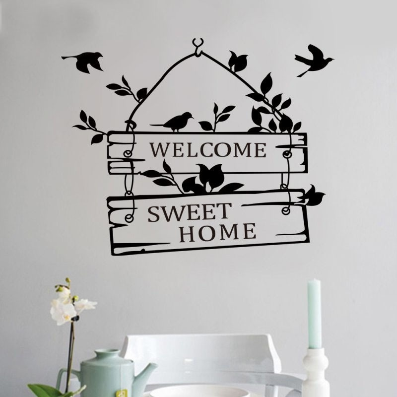 welcom to sweet home bird wall stickers home decorations living room decoration sticker removable vinly wall decals (3)