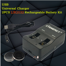 High-quality universal USB interface charger 1PCS + 2PCS rechargeable coin cell LIR2032 Button Battery