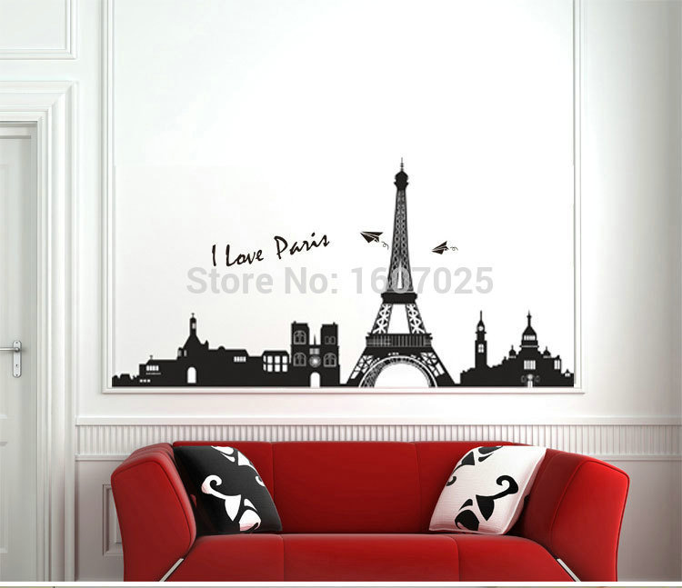 single faucet 60*90cm 2015 newest DIY Paris Eiffel Tower high-quality removable wall stickers home decor bathroom sinks vintage(China (Mainland))
