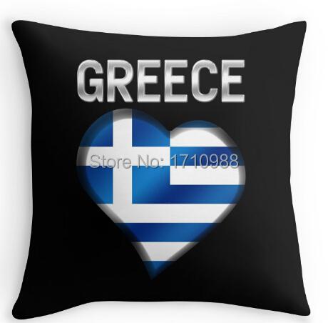 Greek Flag Heart & Text - Metallic Pillowcase Zippered Pillow Case(two sides) for 12x12 14x14 16x16 18x18 20x20 24x24 inch(China (Mainland))