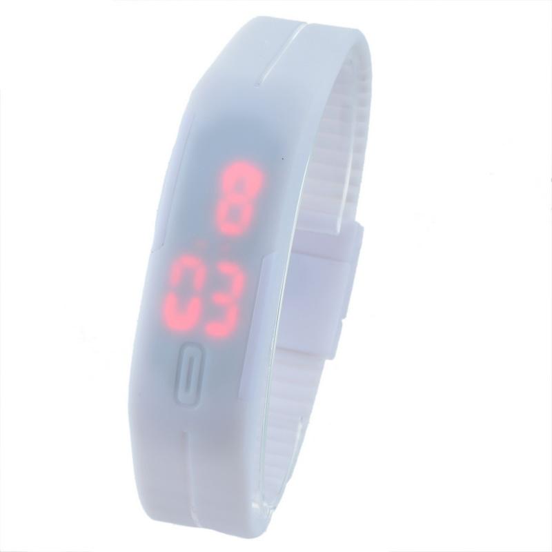 White Silicone Adjustable Electronic Digital Wrist Watch LED Lights Slim Touchscreen New Fashion Watch 1PC(China (Mainland))