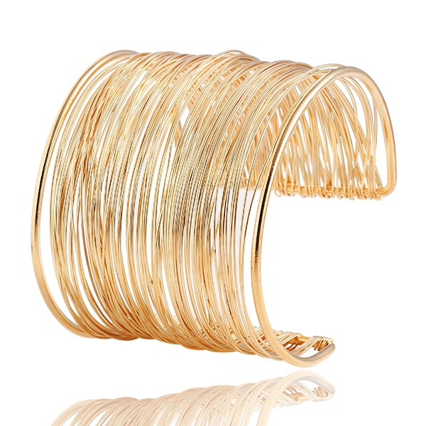 2015 Fashion Punky Style Hollow Cuff Retro Braid Big Gold Bangles For Women Charm vintage Multilayer Wide Bracelet Lady Shop(China (Mainland))