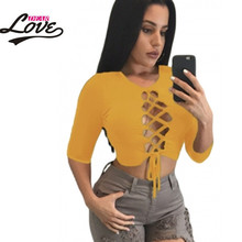 2016 Newest Fashion Women T Shirt Camisetas Mujer LC25773 Black Lace Sleeved Crop Top 3/4 Sleeve T-Shirt - Sexy Dear Lover store