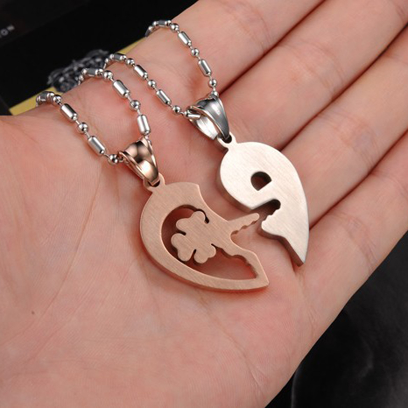 1 Pair Heart Locked and Key Pendants Necklaces Love Happiness Meaning Necklace Beauty and Unique Love Token Jewelry(China (Mainland))