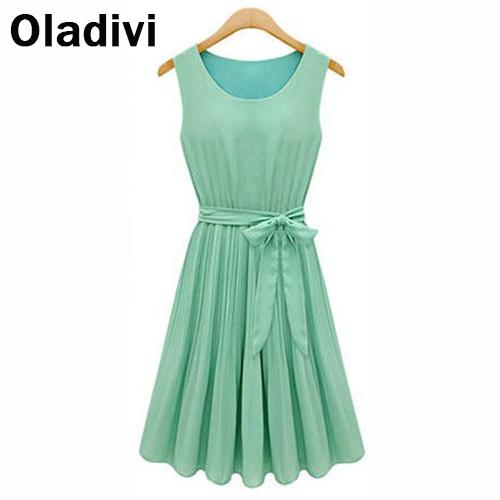 Good Quality Hot 2016 Summer Casual Women Chiffon Dresses Sleeveless Vest Pleated Dress Sashes Green Brown Vestido Feminino - Oladivi official store
