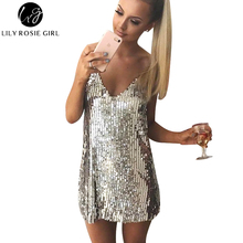 Buy Deep V Neck Autumn Silver Sequined Backless Sexy Dress Women Shoulder Mini Dress Christmas Party Club Strap Dresses Vestidos for $15.89 in AliExpress store