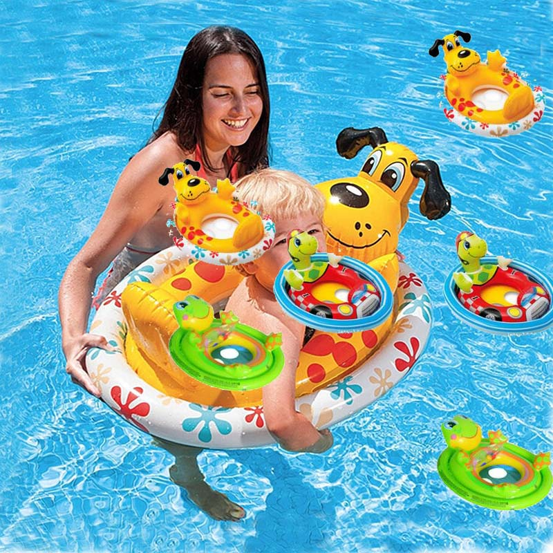Hot Sale High Quality Inflatable Baby Float Seat Boat Tube Ring Car Sun shade Water Swim Swimming Pool Portable Turtle Frog Dog(China (Mainland))