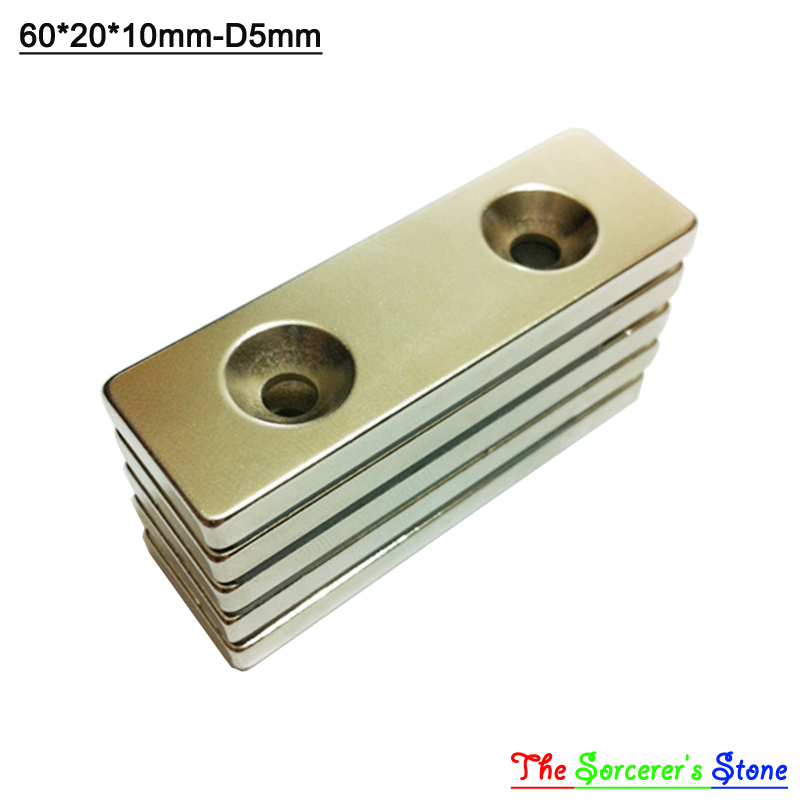 5pcs Super Strong 60x20x100mm With Hole 5mm  Rare Earth Neodymium Block Magnet  N52 Free Shipping<br><br>Aliexpress