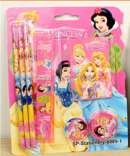 Cinderella princess girls pencils sharpener eraser ruler notebook set Snow white ...