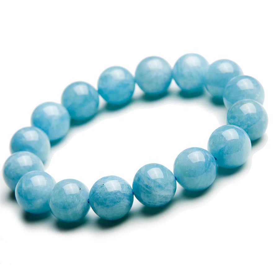 13MM Precious Natural Aquamarine Bracelets For Women Ladies Crystal Round Beads Jewelry Stretch Charm Bracelet Femme Wholesale(China (Mainland))
