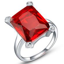 Garnet Ruby Simulated Diamond Crystal Geometry Big 925 Silver Round Rings anillo Jewelry for Wedding