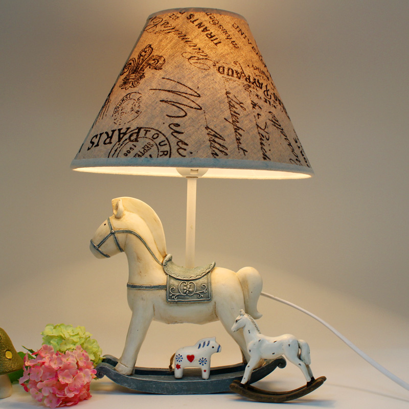 Fashion vintage rocking horse home decoration bedside table lamp gift adjustable(China (Mainland))