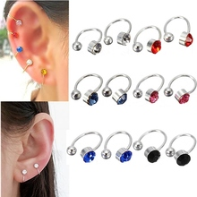 2pcs New Ear Clip Cuff Wrap Earrings Crystal Rhinestone Nose No piercing Clip on Women Men Party Jewelry Cheap Free Ship(China (Mainland))