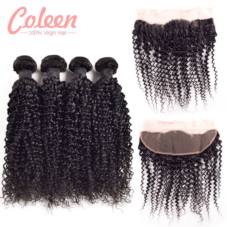 6a malaysian kinky curly human hair with lace frontal closure 5bundles/bag afro kinky curly hair with lace frotal free shipping<br><br>Aliexpress