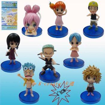 Free shipping 100% brand new Japana anime 8pcs one piece Usopp Nami Robin Zoro pvc figure toys tall 8cm set.