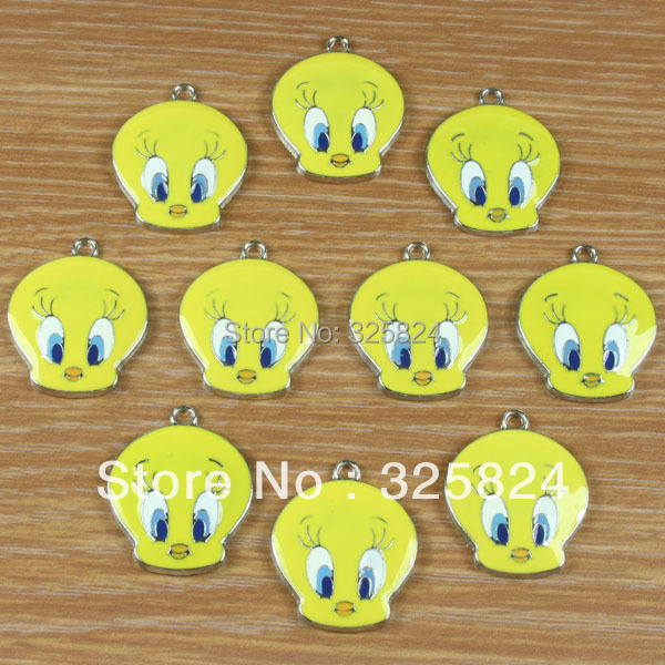 2Tweety Head Metal Zinc Alloy Enamel Charms Pendants Girl Jewelry Crafts Making Deco DIY - The store