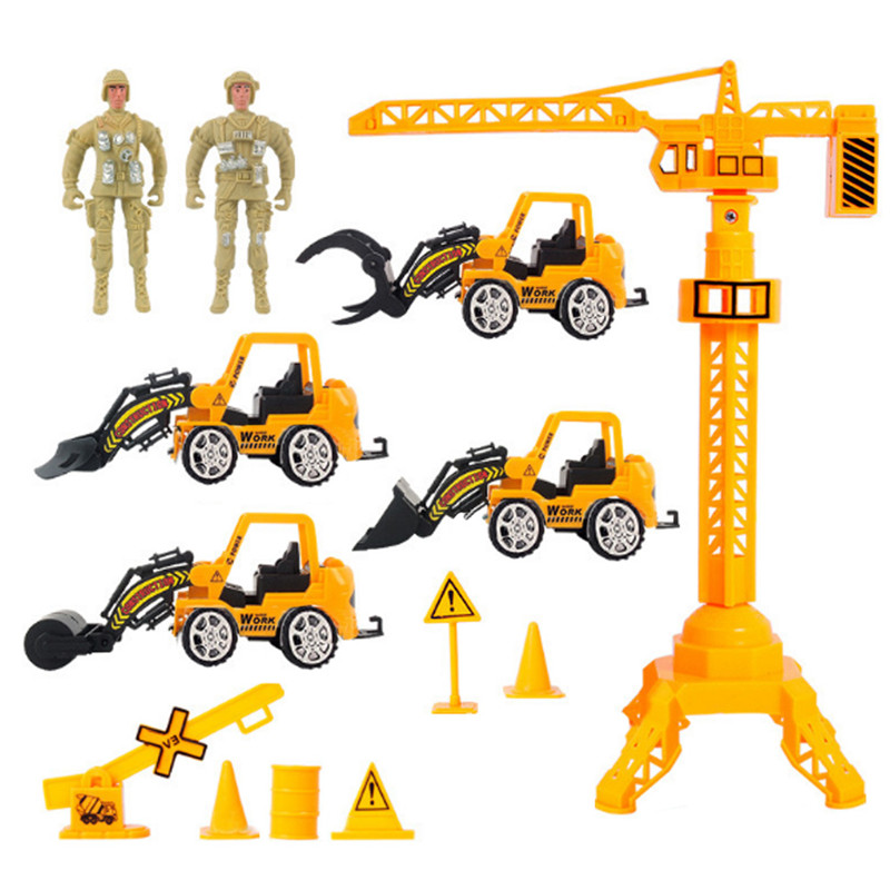 13pcs/lot Pull Back Emulational Military Truck Convoy Sets Vehicles Building Crane Kids Toy Excavator Bulldozer Cars Toy(China (Mainland))