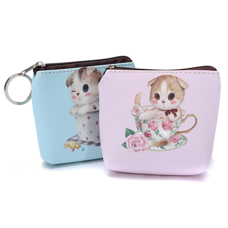 2015 Cute Animals Prints Leather Coin Purses Cat- Face Zipper Case Purse Cartoon Key Wallet Gift Small Bag Pouch Wholesale<br><br>Aliexpress