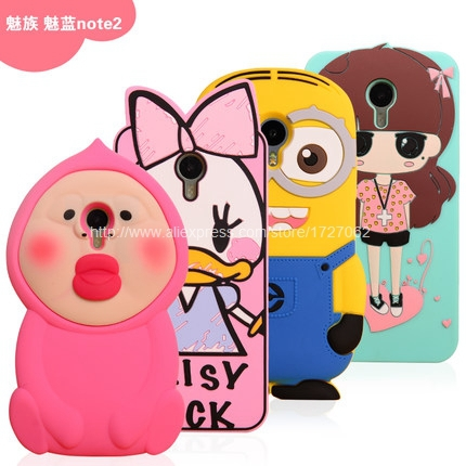 Newest Meizu M2 Note Case Cute 3D Cartoon Rubber Soft Silicon Back Cover for Meizu Note 2 Note2 5.5 Inch 4G LTE Cell Phone(China (Mainland))