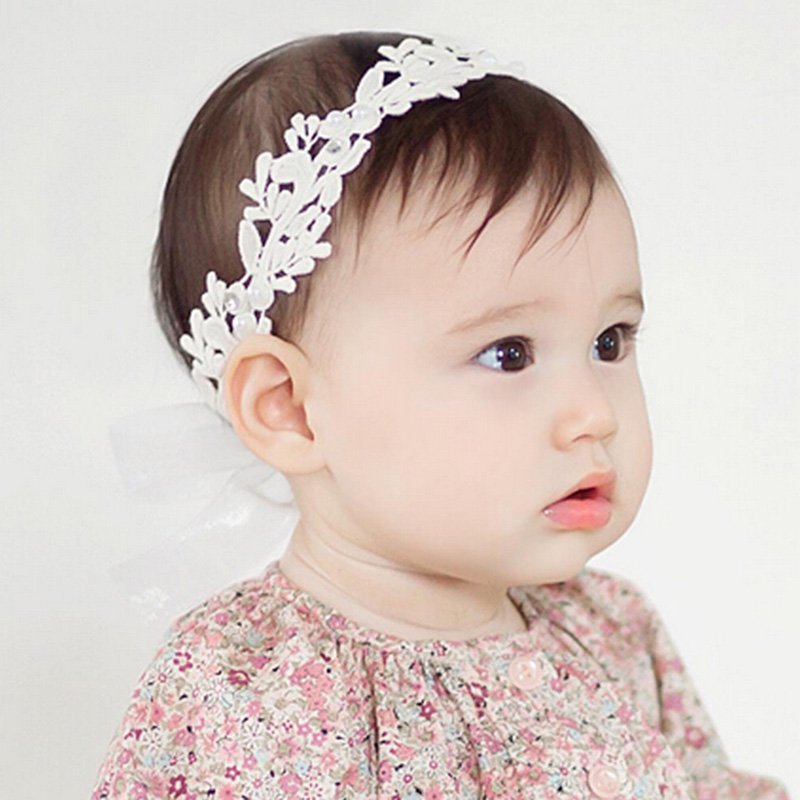 2016 Baby Flower Headband Girl Children Infant Baby White Floral Hair band Accessories Adjustable Headband For Baby Girls(China (Mainland))