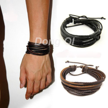 100% hand-woven Fashion Jewelry Wrap multilayer Leather Braided Rope Wristband men bracelets & bangles for women(China (Mainland))