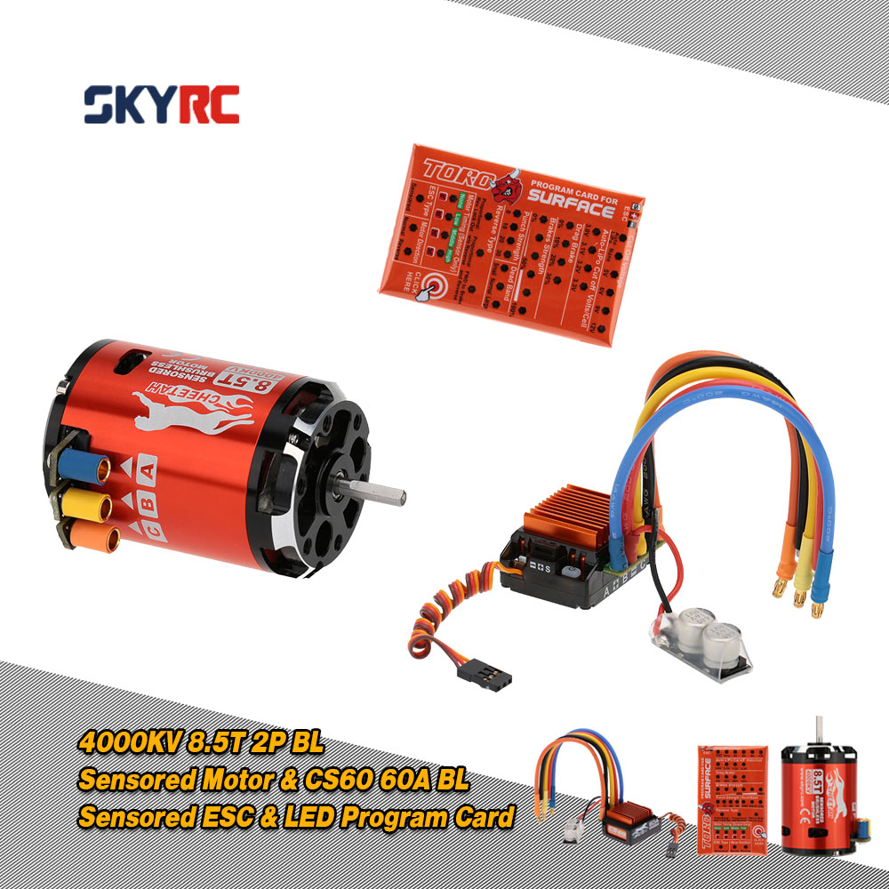 SkyRC 4000KV 8.5T 2P Brushless Sensored/Sensorless Motor+CS60 60A Brushless ESC+LED Program Card for 1/10 1/12 Buggy Touring Car(China (Mainland))