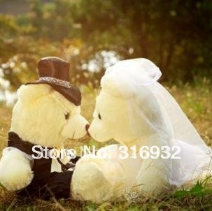 J1 40cm bride and bridegroom wedding teddy bear wedding souvenirs  plush toy,couple wedding gift/wedding accessories
