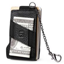 Buy teemzone RFID Blocking Simple Men's Top Genuine Leather 8-13 Credit Card ID Holder Elasticity Money Clip Wallet Black K358 for $14.95 in AliExpress store