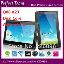 """7"""" q88 allwinner a23 512M 4GB  bluetooth Capacitive dual camera android 4.4.2 tablet pc 9 colors(China (Mainland))"""