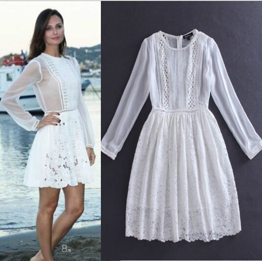 Brief Dress Free Shipping 2015 Summer New Arrival Full Sleeves Above Knee Women Slim Patchwork Lace White DressesОдежда и ак�е��уары<br><br><br>Aliexpress