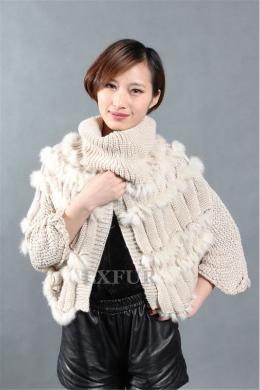 Real Lady Knitted Rabbit Fur Jacket Fashion Wollen Vest  Front Botton Ponchos Spring/Autum Casual Outwear LX00255Одежда и ак�е��уары<br><br><br>Aliexpress