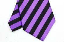 NT0058 Purple Black Stripe Smooth Classic Type Jacquard Woven Silk Polyester Man s Business Wedding Luxury