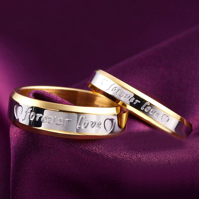 1pcs Never fade engagement 18k gold silver plated forever Love letter jewerly accessories Women & Men wedding Couple Rings(China (Mainland))