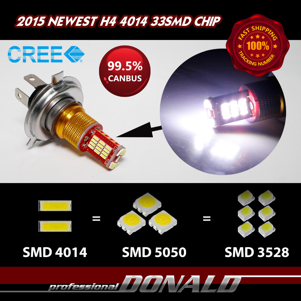 10x H4 Car Auto Fog Driving DRL Daytime Running Headlight Bulbs CREE 33smd 4014 Chips Canbus Xenon White 6000K 1000LM~1100LM(China (Mainland))