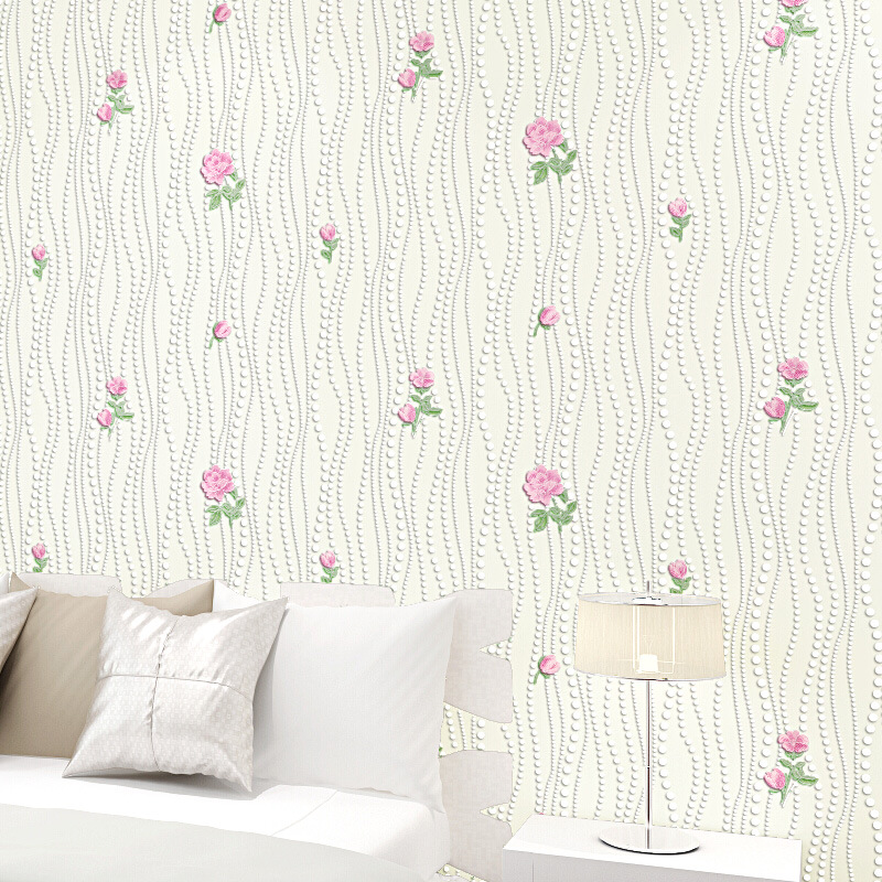 Hot sale women bedroom wallpaper roll flocking romantic for Bedroom wallpaper sale