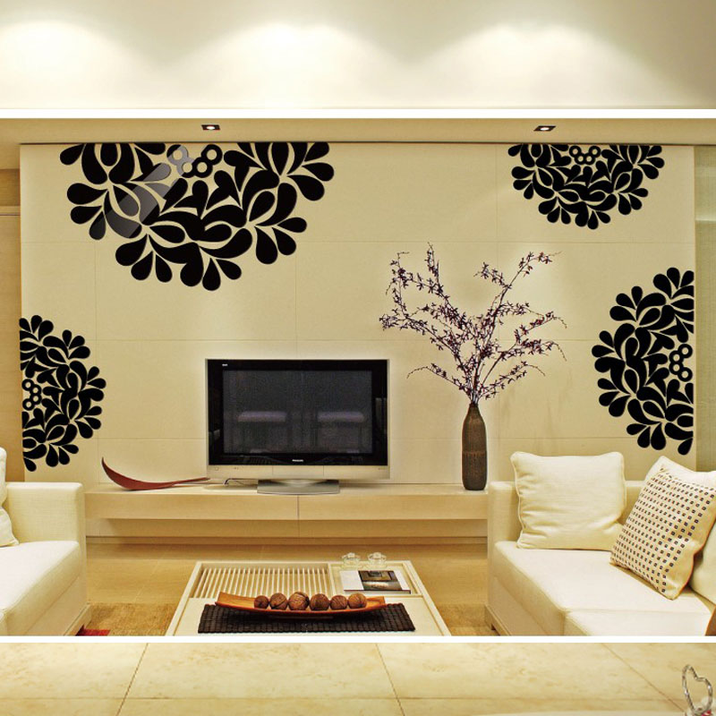 1pcs 3d Decorative Flowers Pattern Backdrop Decorated Living Room Bedroom Ceiling Entrance Wall Stickers Mirror